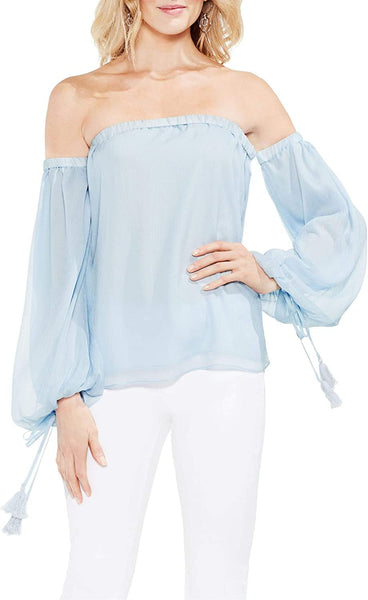 Vince Camuto Off-The-Shoulder Tassel-Detail Top Blouse - Size Medium