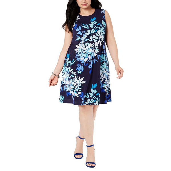 Jessica Howard Women Plus Floral-Print Trapeze Dress - Blue - Size: 22W