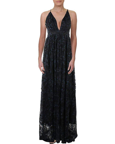 Aqua Women's Lace Overlay Floral Evening Dress