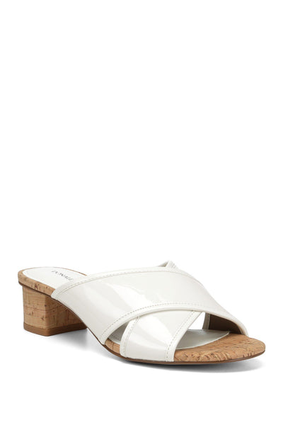 Donald Pliner Mally Low Crisscross Slide Sandal, White, 9.5