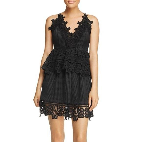 Aqua Women's Lace Peplum Party Dress