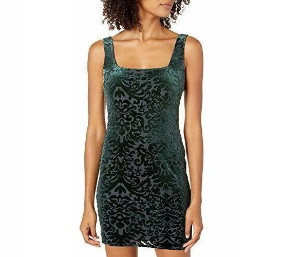 JUMP Women's Velvet Burnout Dress - Size Medium, Color Green