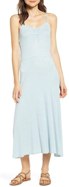 BP Women's Ruched Rib Midi Dress, Size Medium - Blue