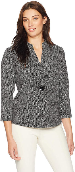 Kasper Women's 1 Button Knit Jacquard Jacket