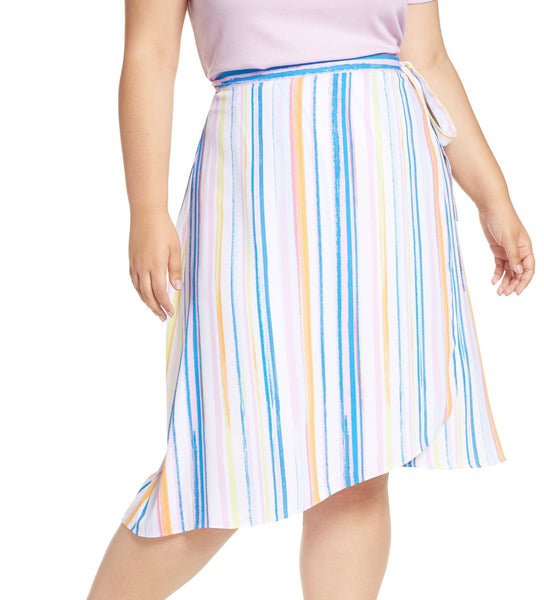 BP. Women's Stripe Midi Wrap Plus Skirt - Size 2X - Blue