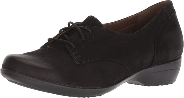 Dansko Women's Fallon Oxford Flat, Black Burnished Nubuck, 40 M EU (9.5-10 US)