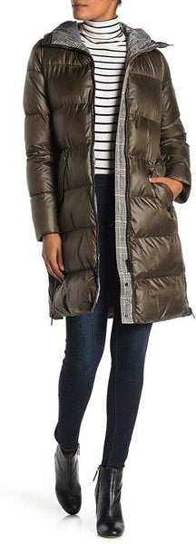 French Connection Women's Zip Front Hood Bib Waist Quilted Jacket | Size Large | Olive