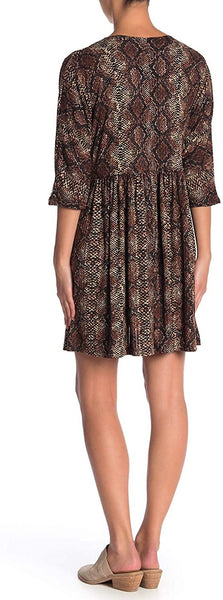 CottonEmporium Women's Snake Print Elbow Sleeve Dress - Size Medium, Brown