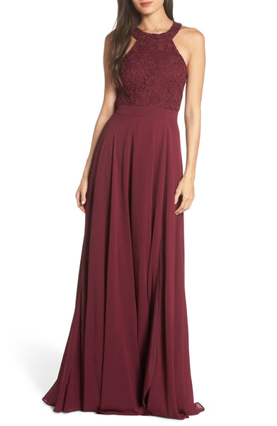LULUS Love Poem Lace Halter Gown, Burgundy, Size: Large