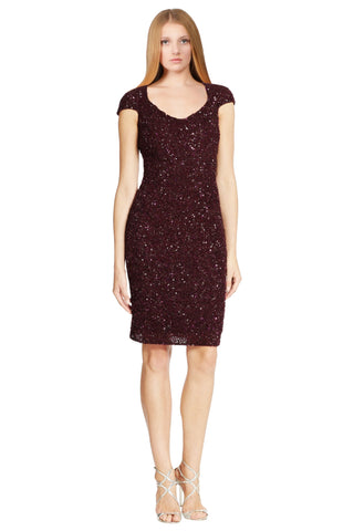 Theia Shimmering Crunchy Sequin Open Back Cap Sleeve Festive Party Dress