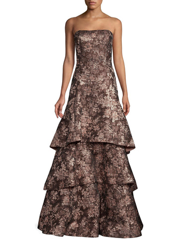 Aidan Mattox Strapless Tiered A Line Jacquard Gown