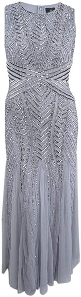 Adrianna Papell Women's Sleeveless Fully Beaded Geometric Gown