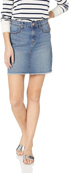 William Rast Women's A-Line Denim Skirt, Midtown Revenge/Fray Hem, 31