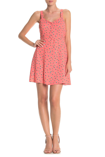 Abound V-Neck Front Button Fit & Flare Dress - Size X-Small, Coral
