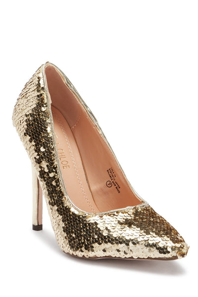 Chase & Chloe Women's Lala Sequin Pump - Size 6.5, Gold