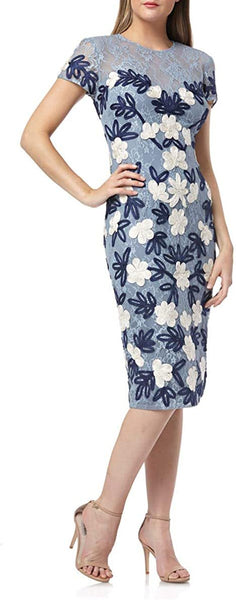 JS Collections Women Floral Two Tone Embroidered Dress | Size - 10 | Color Blue