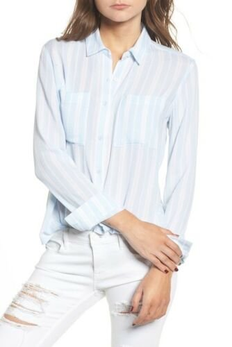 Women's BP. Perfect Stripe Shirt, Size X-Small - Blue