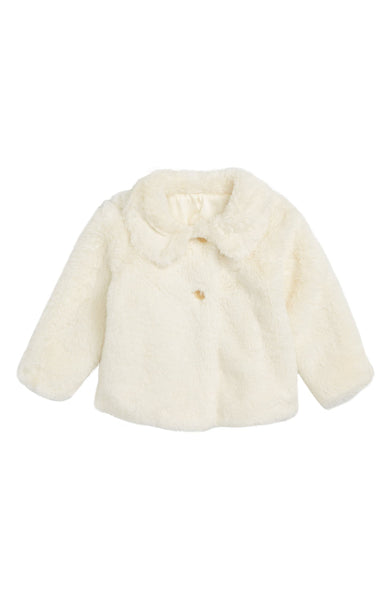 Infant Girl's Ruby & Bloom Cozy Faux Fur Jacket, Size 3-6M - Ivory