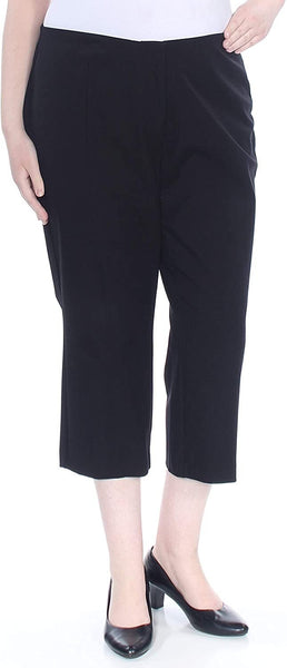Alfani Womens Plus Hollywood Comfort Waist Business Cropped Pants Black 24W