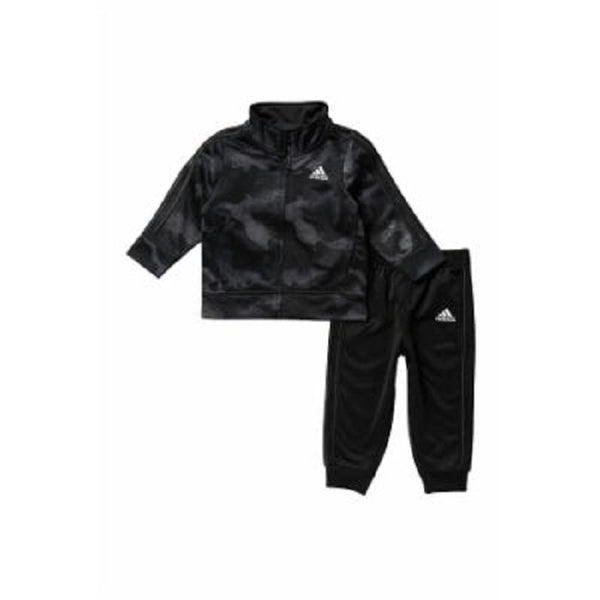Adidas Boys Printed Zip Front Tricot Jacket Jogger Pants Set | Size - 12 | Black