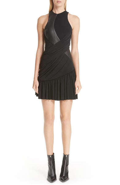 ALEXANDER WANG Women's Leather Detail Jersey Dress, Size 2 - Black