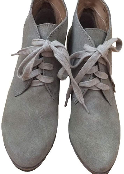 Susina Women Suede Lace Up Wedges Leather Ankle Boot, Size 7.5, Color - Gray