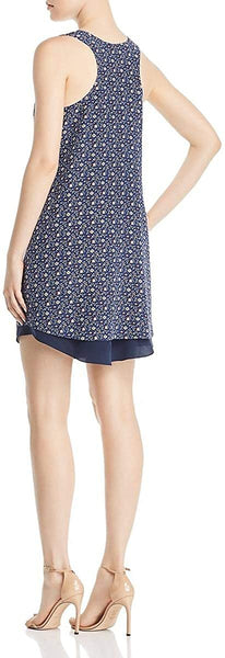 Tory Burch Sydney Floral-Print Silk Shift Dress in Blue Wild Pansy - Size Large, Blue