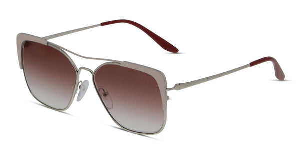Women Prada PR 54VS Sunglasses, Silver/White/Eggplant, One Size