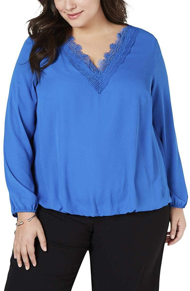 Alfani Womens Plus Lace Trim V-Neck Blouse