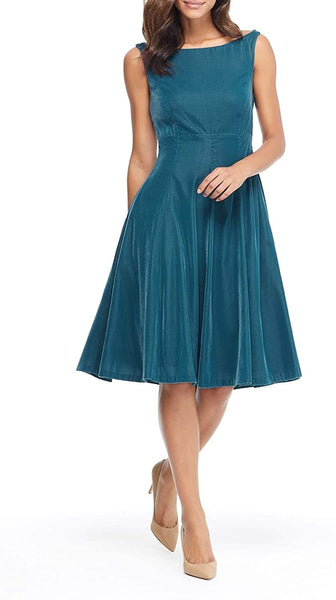 Gal Meets Glam Christine Velvet Bateau Neck Dress, Size 8 - Green
