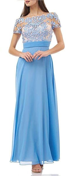 JS Collections Women's Embroidered Illusion Bodice Gown, Size 4 - Blue
