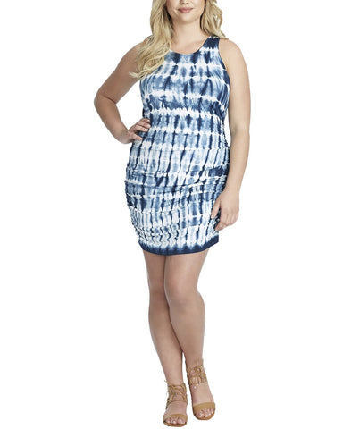 Jessica Simpson Trendy Plus Size Tummy Control Tie Dyed Mini Dress