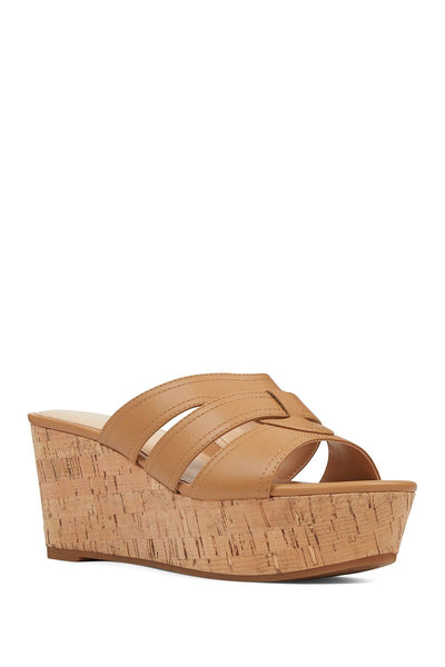 NINE WEST Women Vivica3 Platform Wedge Sandals 11, Light Natural Brown