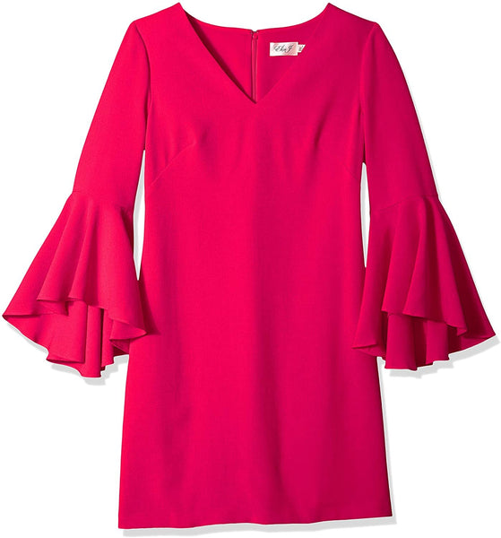 Plus Size Women's Eliza J Bell Sleeve Crepe Shift Dress, Size 22W - Pink