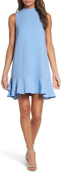 Women's Charles Henry Hem Ruffle Shift Dress, Size Small - Blue