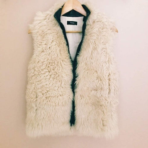 Theory Lamb Shearling Leather Gilet Vest, Cream, Small
