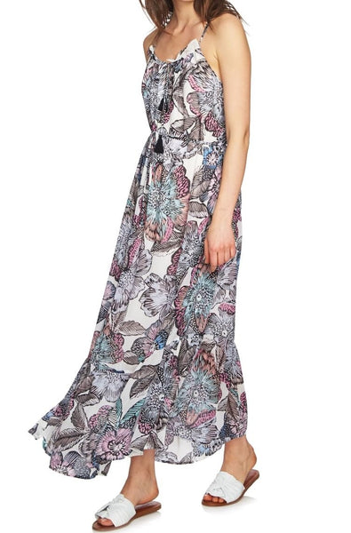 1.STATE Women Print Maxi Dress Keyhole neck | Size - XS | Ivory