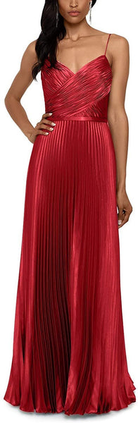 Betsy & Adam Women Pleated Satin Grecian Gown | Size - 4 | Color - Dark Red