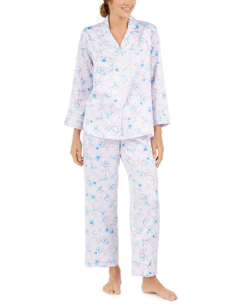 Miss Elaine Women's Brushed Back Printed Satin Pajama Set - Medium - Blue/Pink
