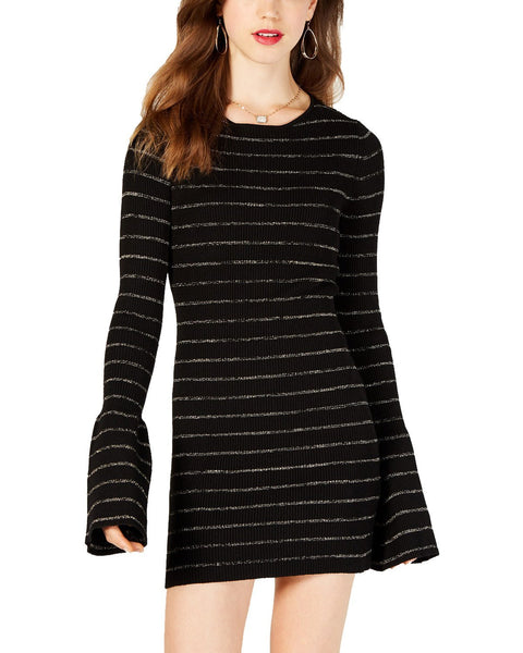 Material Girl Juniors' Shine Striped Sweater Dress