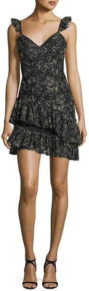 Cinq a Sept Women,s Gold Floral Embroidered Ruffle Mini Skirt Dress, Size 10 - Black