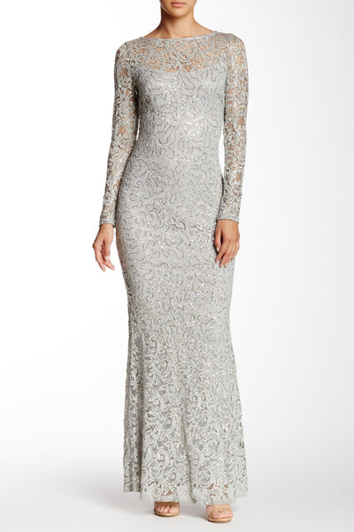 Marina Women's Long Sleeve Sequin Lace Gown Size - Medium, Silver