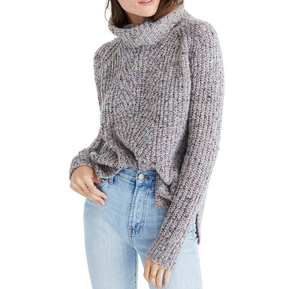 Women's Madewell Colorfleck Ribbed Turtleneck Sweater, Size Medium - Grey
