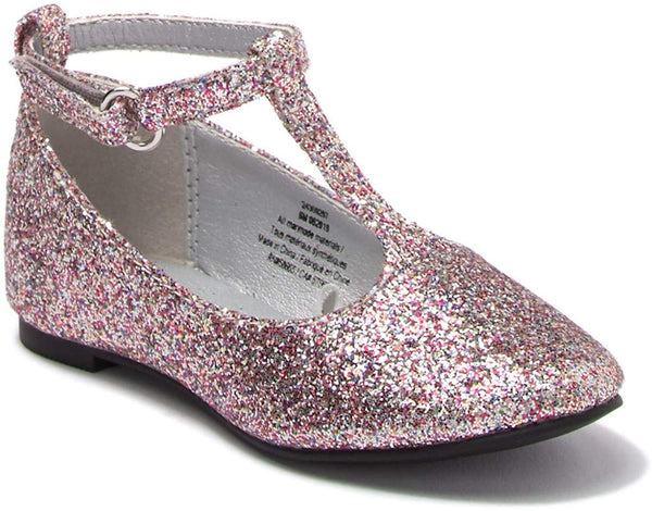 Harper Canyon T Strap Flat, Silver Glitter, (Toddler) Size 12 Months