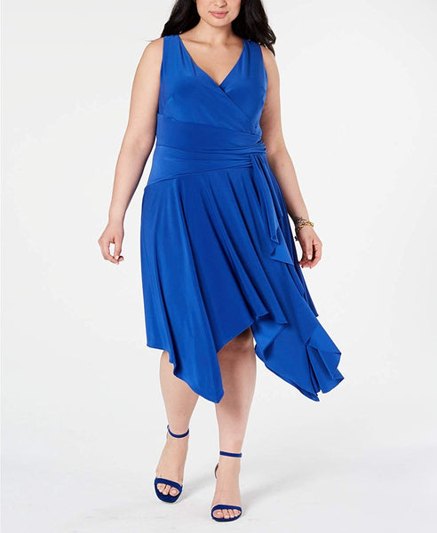 Taylor Dresses Women's Plus Size Sleeveless Criss Cross Front Jersey Dress