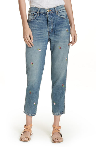 The Great The Rigid Fellow Floral Embroidered Jeans, Blue, 24