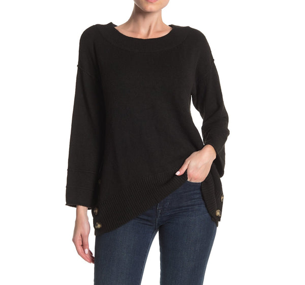 Democracy Women Side Button Boat-neck Sweater - Size Medium - Black