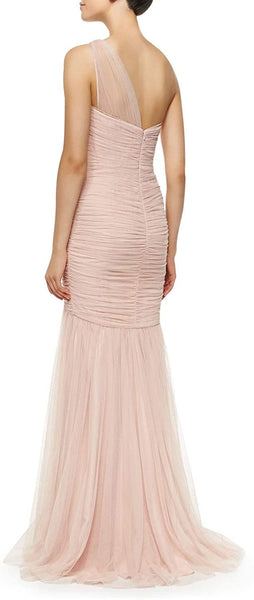 Amsale Women's One-Shoulder Draped Mermaid Gown - Size 12, Blush