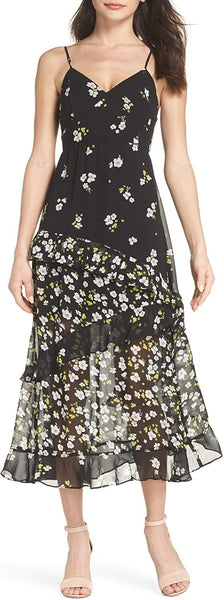 Bardot Women's Ditzy Floral & Ruffle Chiffon Dress, Size Small - Black