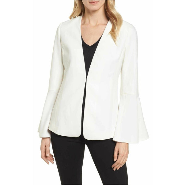 Halogen Womens Blazer Bell Sleeve Front - Clasp Size Large - White Ivory